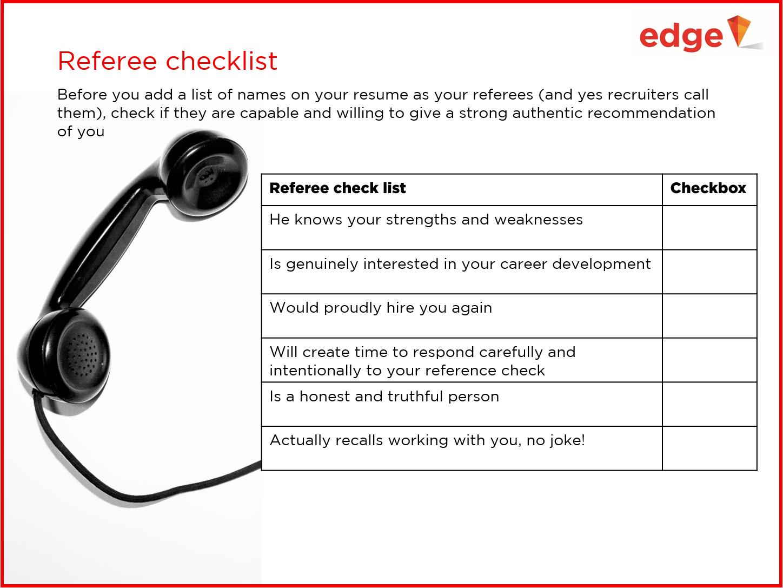 Referee, referee checklist